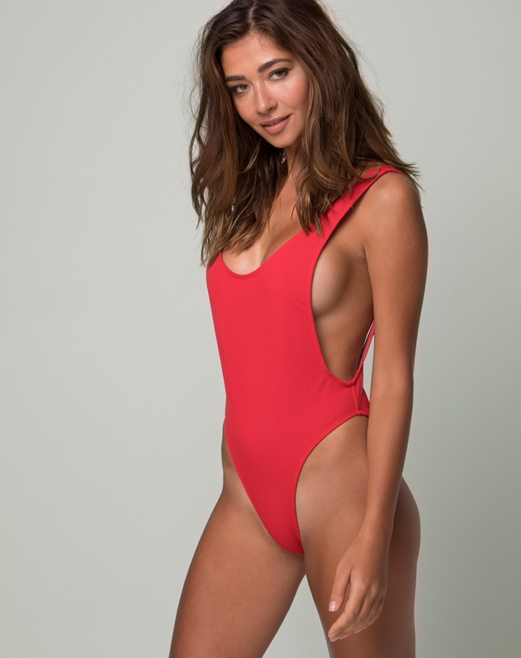 red swimsuit